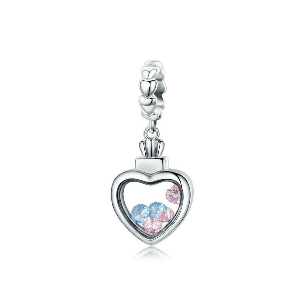 Sterling silver pendant charm Romantic heart filled with stones