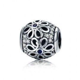 Sterling silver charm Daisy with blue shiny dot