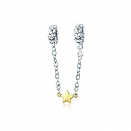 902e63226c4a Cadena de seguridad en plata de Ley Corazones con estrella chapada en oro