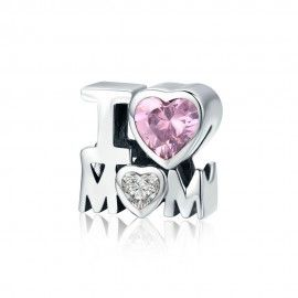 Sterling silver charm I love mom