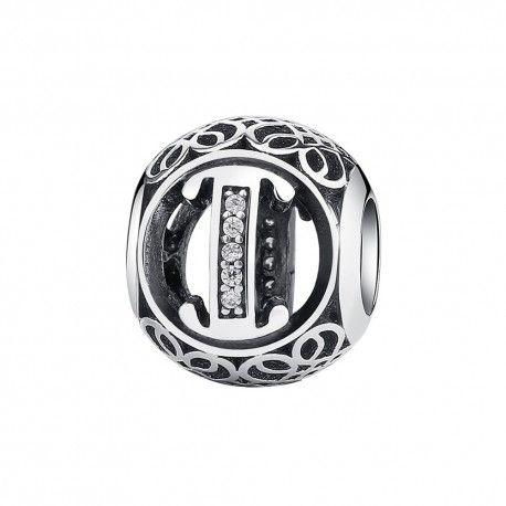 Zilveren bedel letter I met zirkonia steentjes