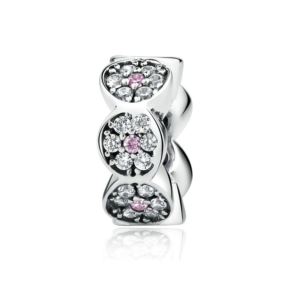 Sterling silver flower spacer with zirconia stones