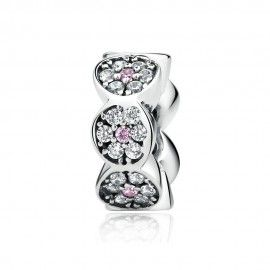 Zilveren bloemen spacer met zirkonia steentjes