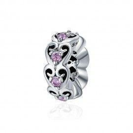 Zilveren romantische spacer met zirkonia steentjes