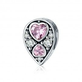 Sterling silver charm Drop with hearts