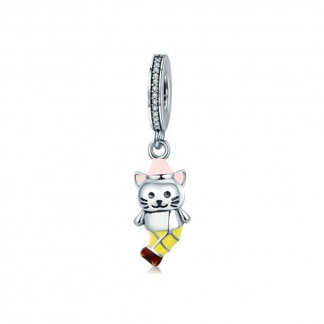 Sterling silver pendant charm Cute cat
