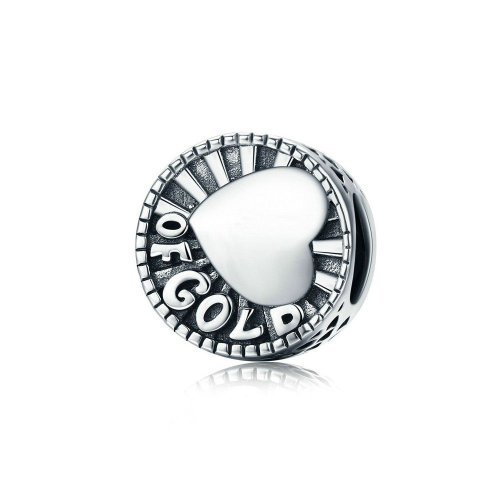 Sterling silver charm Heart of gold
