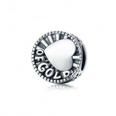 Zilveren bedel Hart van goud