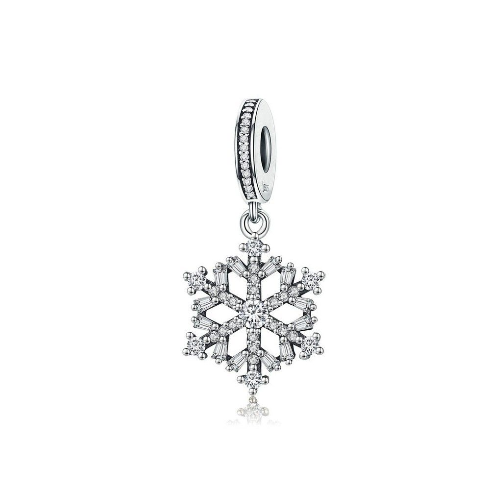 Sterling silver pendant charm Sparkling snowflake