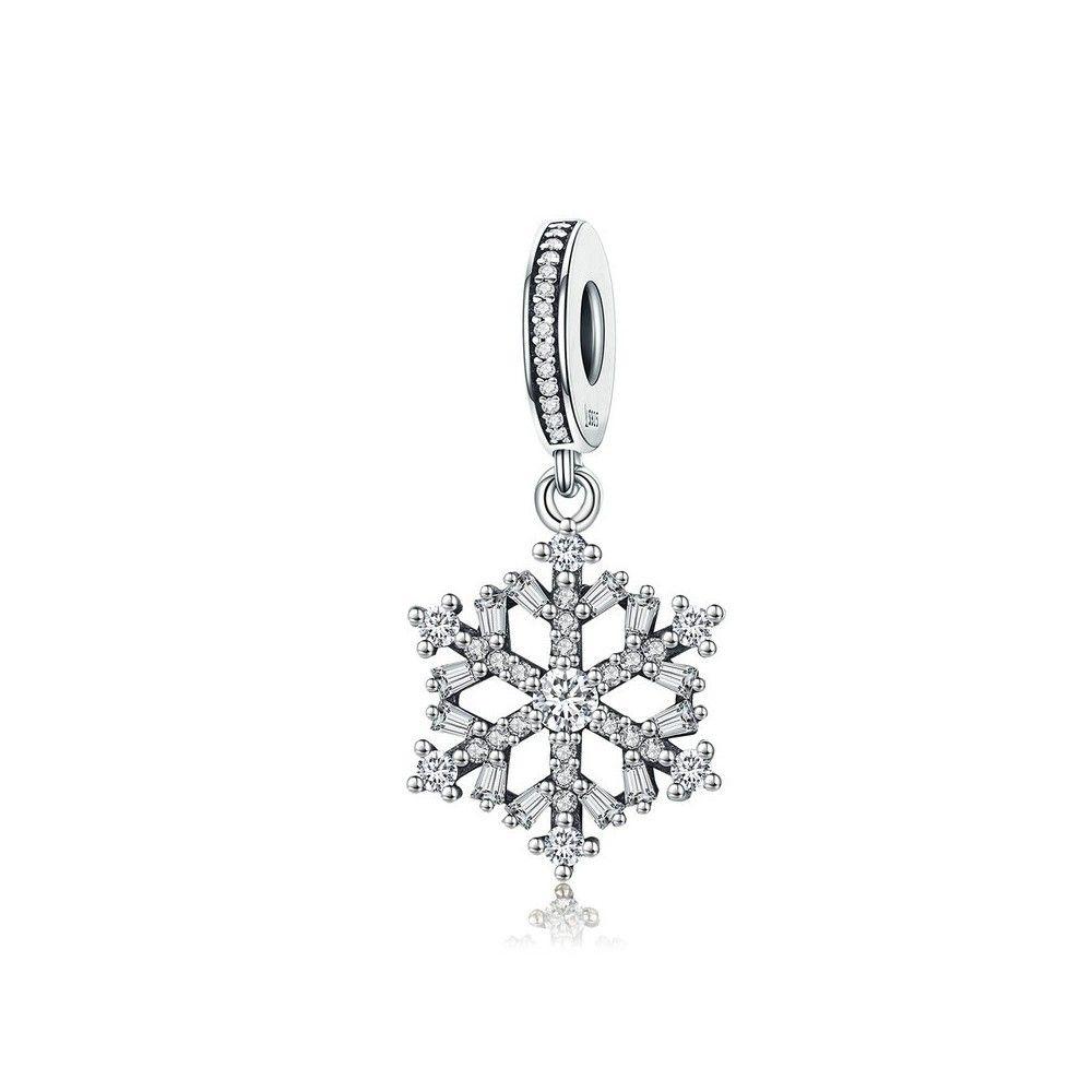 Zilveren hangende bedel Sprankelende sneeuwvlok
