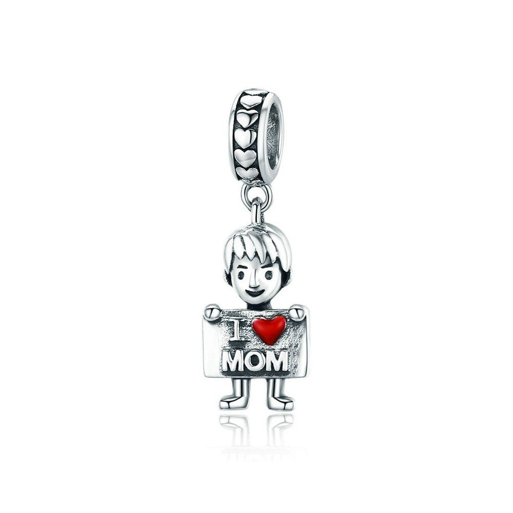 Sterling silver pendant charm Boy loves mom