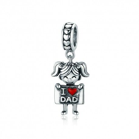 Sterling silver pendant charm Girl loves dad