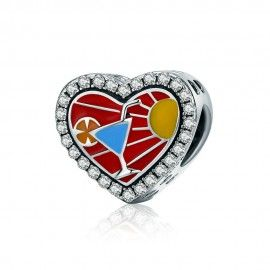 Sterling silver charm Cool summer heart