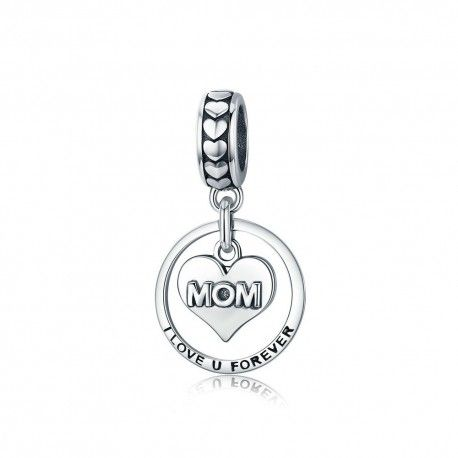 Sterling silver pendant charm Mom I love you forever
