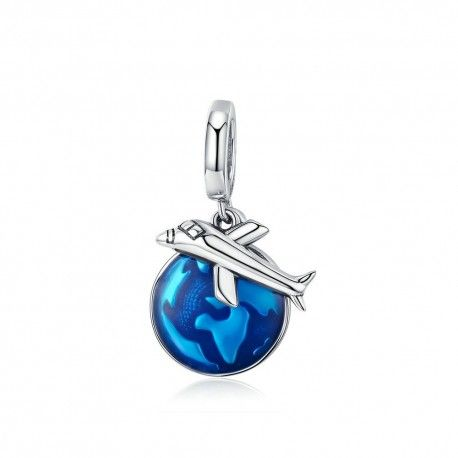 Sterling silver pendant charm Travel around the world by plane