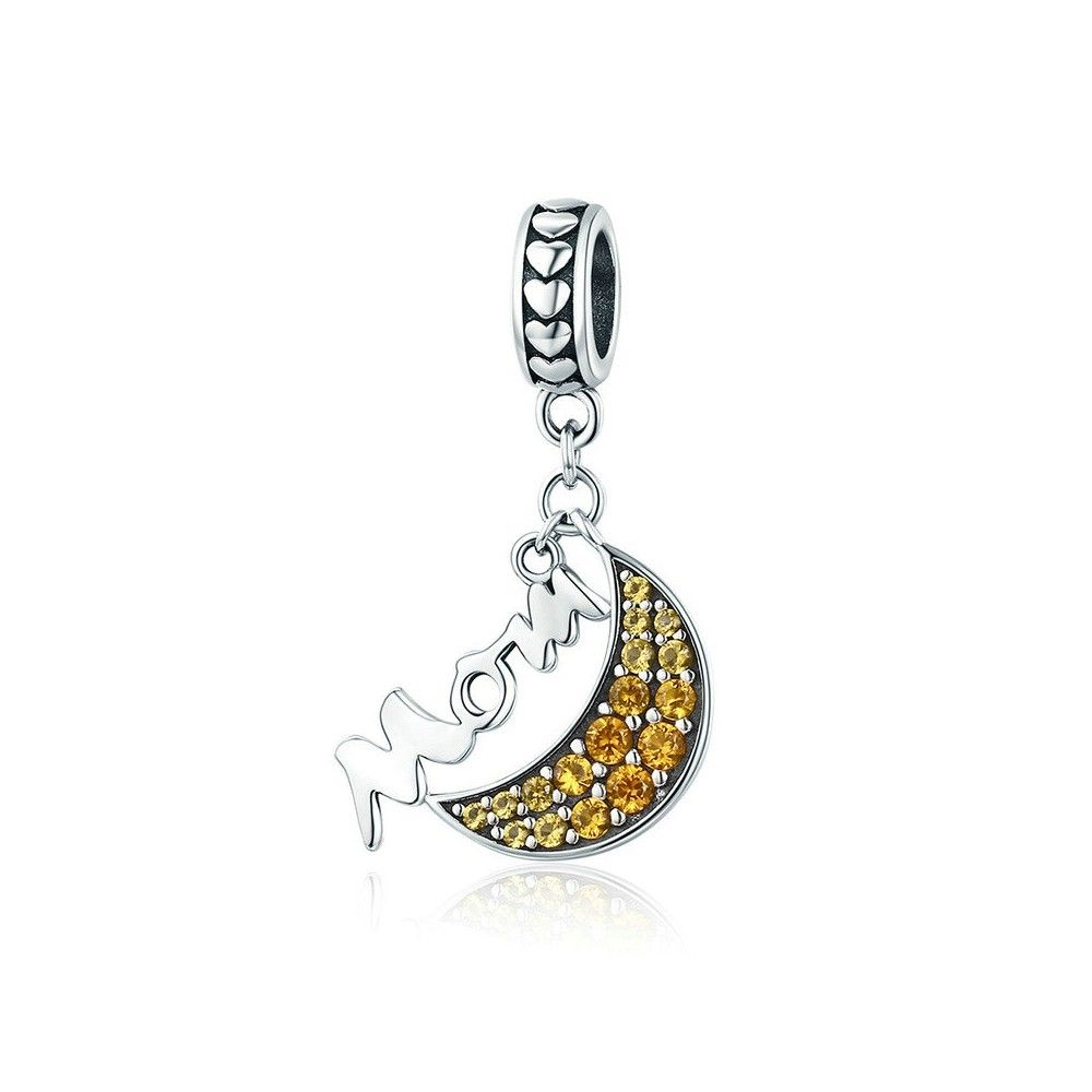 Sterling silver pendant charm Mom with yellow moon