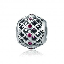 Sterling silver charm Ball with pink cubic zirconia