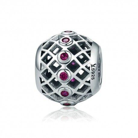 Charm in argento Palla con zirconi rosa-Mijn bedels-per il ...