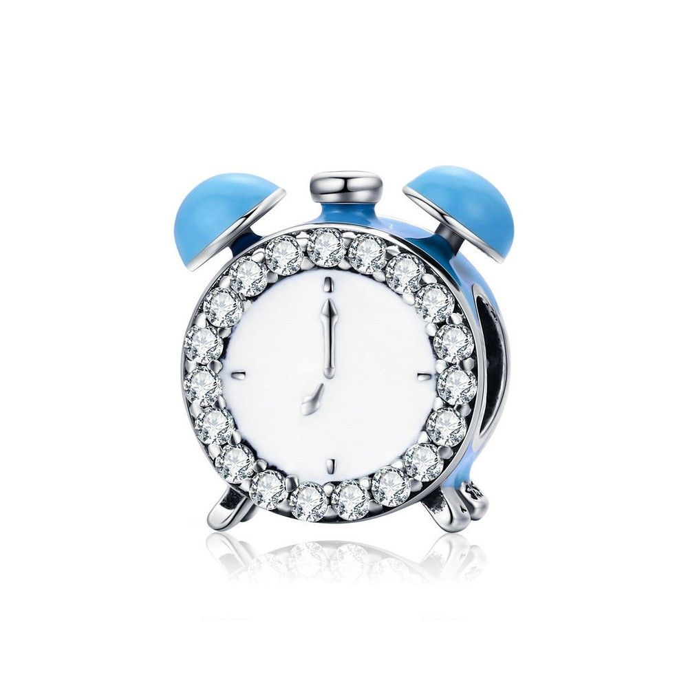 Sterling silver charm Alarm clock