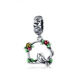 Sterling silver pendant charm Bird cage