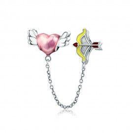 Cadena de seguridad en plata de Ley la flecha de Cupido