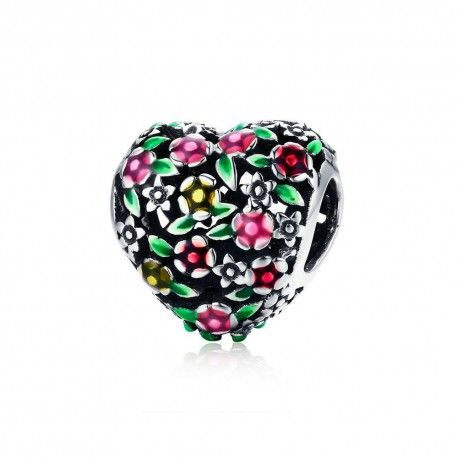 Sterling silver charm Valley of flowers heart