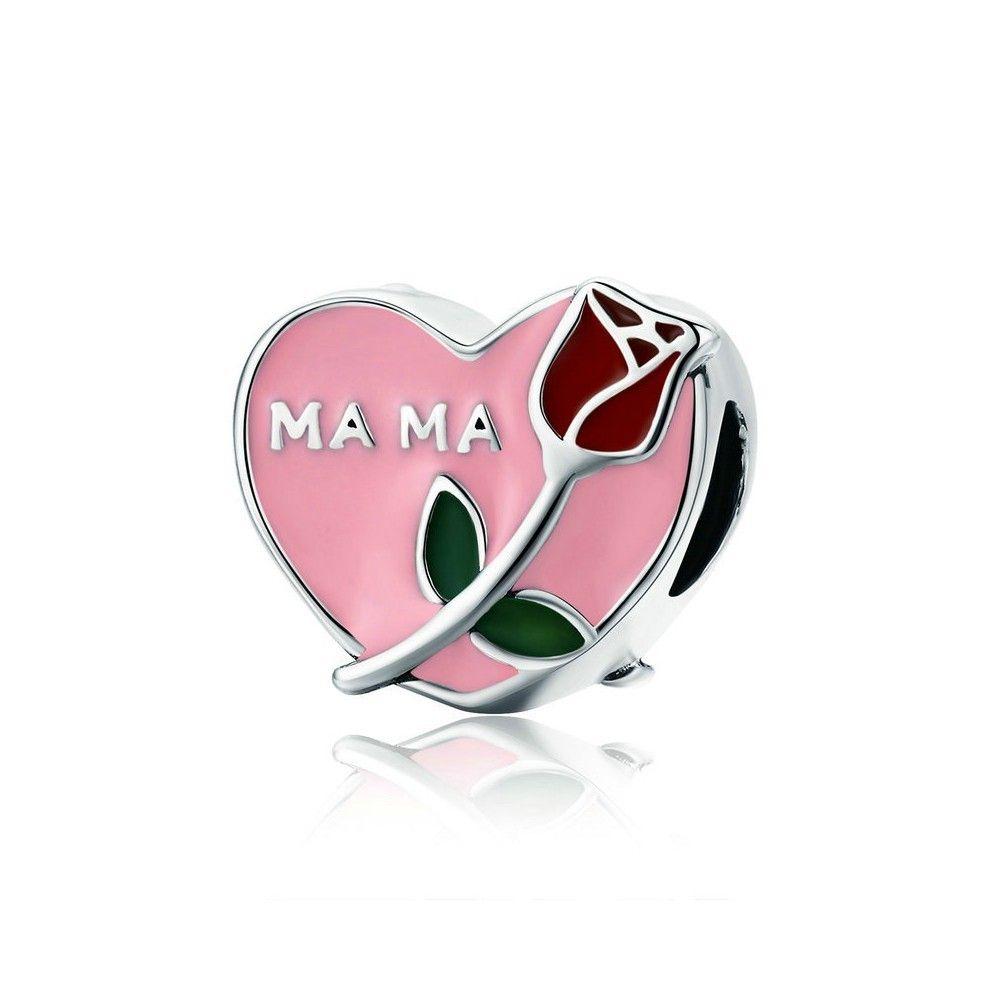 Zilveren bedel Hart met roos
