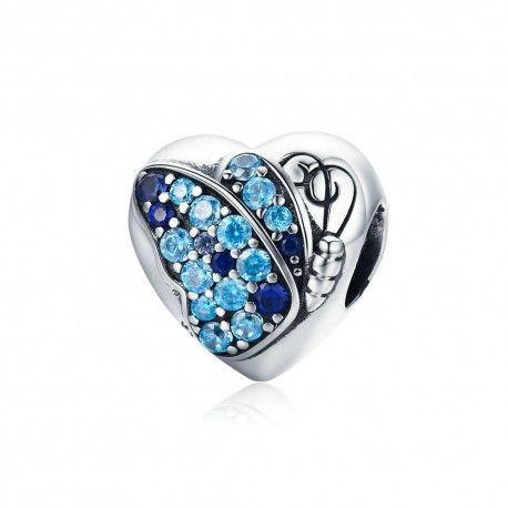 Zilveren bedel Hart blauwe vlinder