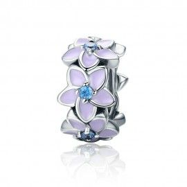 Sterling silver spacer Orchid