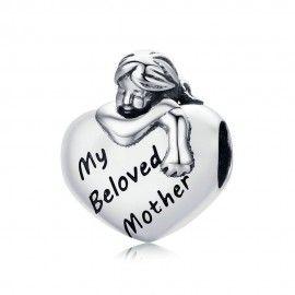 Zilveren bedel Mijn geliefde moeder 2