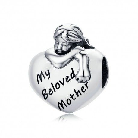 Sterling silver charm My beloved mother 2