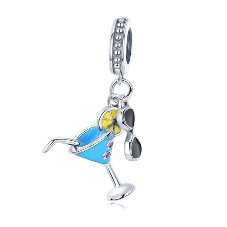 Sterling silver pendant charm Summer cocktail