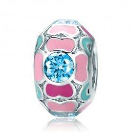 Sterling silver charm Pink enamel sweet heart