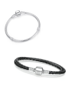 Trendy leather, sterling silver and silver plated charm bracelets suitable for Pandora, Tedora, Trollbeads and other charms!