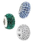 Brillanti charms e pendenti di argento con cristalli Swarovski adatti per bracciali Pandora, Tedora, Trollbeads e tutte le altre marche!