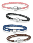 Beautiful and colorful woven leather charm bracelets for Pandora, Tedora, Trollbeads and all other charms!