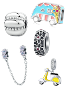 Sterling silver charms, pendants, clips, spacers suitable for Pandora, Tedora, Biagi, Bacio and Trollbeads charm bracelets!