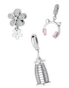 Charms colgantes en plata de ley adecuados para pulseras de Pandora, Tedora, Trollbeads y todas las otras marcas!